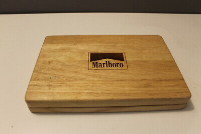 Marlboro Poker Chips and Card Set in Maple Wood Carrying Case B#7