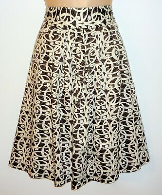 db6325dd58 Merona Skirt Brown White Print A-Line Lined Knee Length Pleats Cotton Size  16