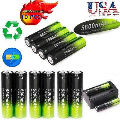 10Pcs SKYWOLFEYE Rechargeable 5800mAh Li-ion 18650 3.7V Battery Charger Set USA
