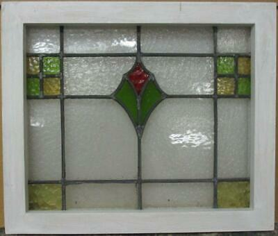 "OLD ENGLISH LEADED STAINED GLASS WINDOW Gorgeous Geometric Design 19.25"" x 16.5"""
