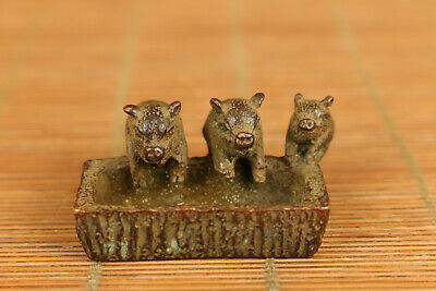 lovely rare old bronze hand casting three pig statue figure collect table deco