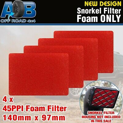 5 x AOB Snorkel Pre Filter Cleaner Air Filter Coarse Foam 45 PPI RED138 x 97mm