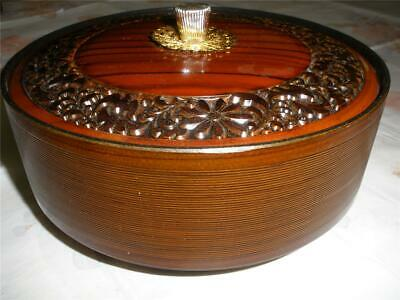 VINTAGE 1970s LACQUERWARE  SNACKS DISH WITH LID BROWN & BLACK DECORATED JAPAN