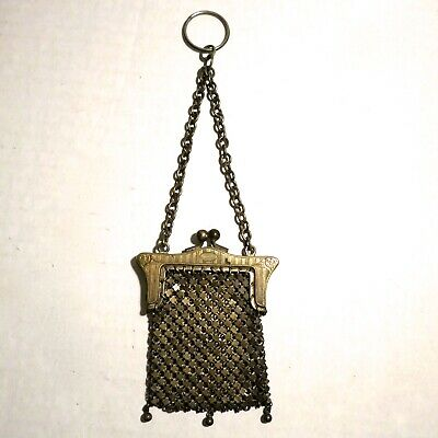 Vintage Antique Mesh Purse Chatelaine Finger Ring Coin Child Doll Nickel Silver