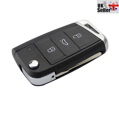 """Fits Vw Golf 7 Mk7 3 Button Fob Remote Key Case Shell """"With Uncut Blade & Logo"""""""