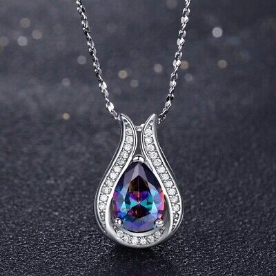 925 Silver Mystic Rainbow Topaz Necklace Pendant Chain Wedding Gift Party Woman