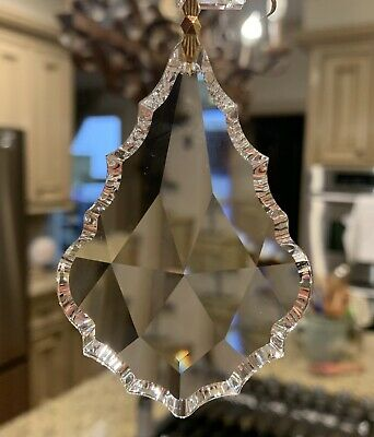 Large CLEAR GLASS CHANDELIER CRYSTALS PRISMS FRENCH PENDANT DROPS PARTS GOLD