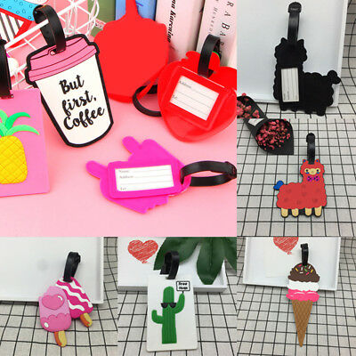 NEW Silicone Cartoon Travel Luggage Tags Suitcase Baggage Name Address ID Label