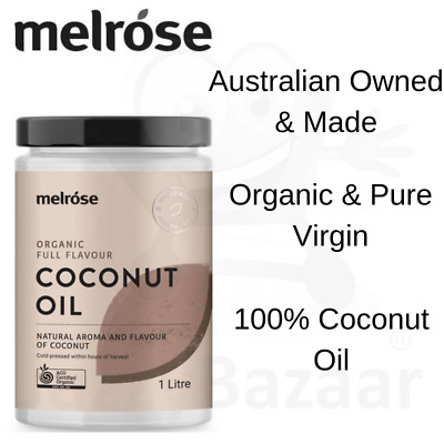 Melrose Organic Full Flavour Coconut Oil 1 Litre Refined Cooking Pure Virgin Oil