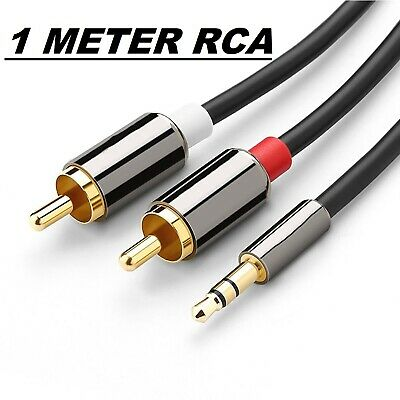 NEW Premium Stereo Audio 3.5mm Aux Jack to 2 RCA M/M Y Cable Gold Plated 1M AUS