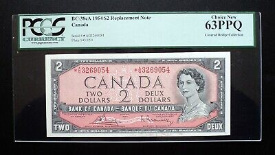 1954 Bank of Canada $2 Replacement Note *A/G 3269054 PCGS  CH.UNC63 PPQ  BC-38cA