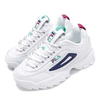 0516073451 Fila Disruptor II Premium White Blue Green Pink Women Chunky Platform Shoes