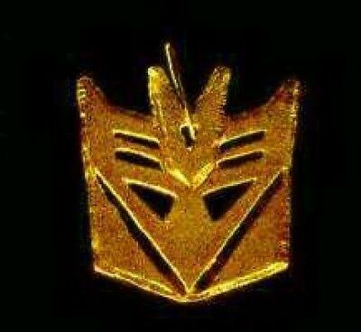 LOOK Transformers Decepticon Symbol real Sterling SILVER Charm Gold Plated Jewel