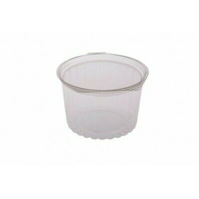 250x Clear Plastic Container w Hinged Flat Lid 16oz / 455mL Disposable