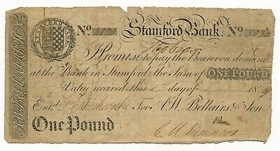 England Stamford Bank 1 Pound Note 1809 Hand Signed - RARE