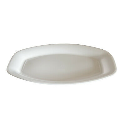 "10x Deluxe Disposable Platter Oval 20""/50cm White Sandwich Party Catering Tray"
