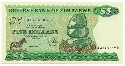 Zimbabwe 5 Dollars $5 1994 P. 2 / 2e aUNC  Note Type B Watermark