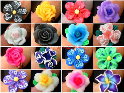 Wholesale jewelry 50 pcs Mixed Beautiful Clay Flower Woman Adjustable Rings RG3