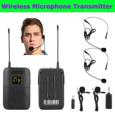 Wireless Microphone Transmitter Lavalier Lapel Clip Mic Receiver Headset System