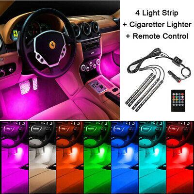 4 LED Car Interior Light Atmosphere Decorative Neon Strip Music Remote Control