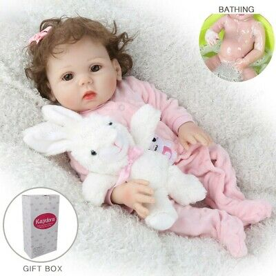 "16"" Full Body Silicone Reborn Baby Doll Lifelike Waterproof Girl Doll Gifts Toys"