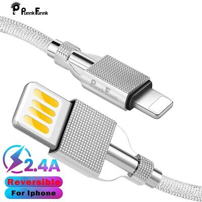 Luxury Reversible Data USB Cable For iPhone X XS MAX XR SE 6 7 8 7S+USB Charger