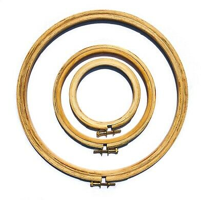 """4 x Wooden Cross Stitch Embroidery Hoop Ring Frame 4"""" 6"""" 10"""" 12"""" 