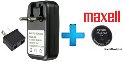 Maxell 3V ML2032 Lithium Rechargeable CMOS Battery ML 2032 AND Charger(Loose)