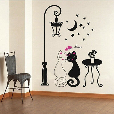 Sticker Mural Dessin Anime Amovible Chat Sous Lampadaire