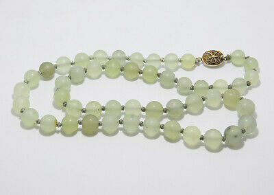 Antique Vintage Chinese Silver Clasp Knotted Jade Bead Necklace