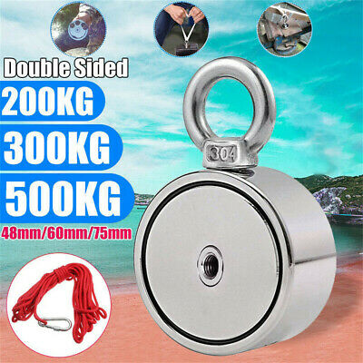 200/300/500KG Double Side Neodymium Metal Magnet Detector Fishing Kit 10M Rope !