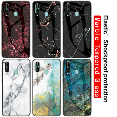 For Samsung Galaxy A70 A50 A30 A10 Marble Tempered Glass Hybrid Hard Case Cover