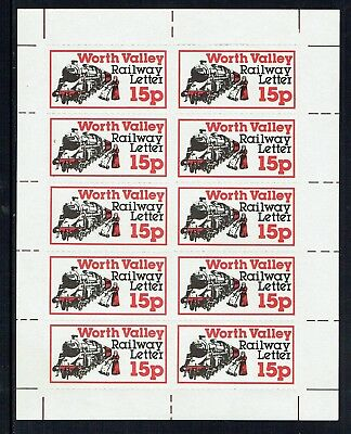 Keighley & Worth Valley Railway1979 Christmas issue letter stamp in sheet of 10