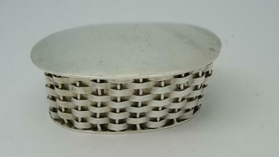 Vintage Heavy Mexican Novelty Basket Design Silver Pill Box Trinket Snuff Box
