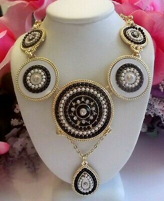 Betsey Johnson Tibetan Style Black And White Crystal & Enamel Circular Necklace