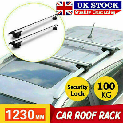 Universal Aluminum Car Top Roof Rack Locking Cross Bars Rail Aero Lockable