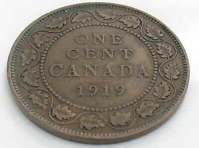 1919 Canada One 1 Cent Copper Large Penny Canadian George V Circulated Coin J877