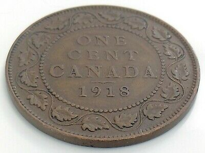 1918 Canada One 1 Cent Copper Large Penny Canadian George V Circulated Coin J879