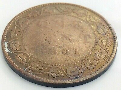 1901 C4 Canada One 1 Cent Large Penny Canadian Victoria Circulated Coin J884