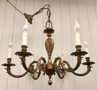 Original Vintage Antique Brass 6 Branch French Rococo Chandelier, Ready To Hang