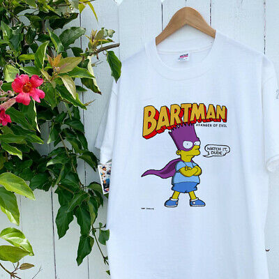 Vintage Bart Simpson Bartman T Shirt 80s Single Stitch The Simpsons DUDE Reprint