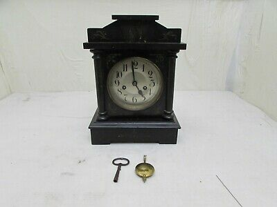 Antique Badische Uhrenfabrik Black Slate Effect Wooden Mantel Clock,Chime Repair
