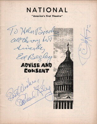 Ed Begley, Richard Kiley, Otto Kruger Autographs, Advise And Consent 1960