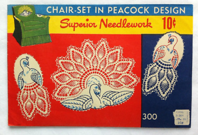 Vintage 1940s Superior Needlework Embroidery Transfer Crochet Chair Set Peacock