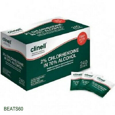 Clinell 2% Chlorexidine/70% Alcohol Wipes x 240, Premium Service, FREE SHIPPING.