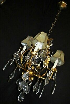 VTG TOLE GOLD LEAFS ITALY CRYSTALS CHANDELIER LIGHT CEILING FIXTURES 1950's