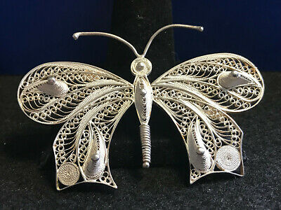 Vtg Sterling Silver Filigree Butterfly Pin/Broach Beautiful Detail (12.3g)