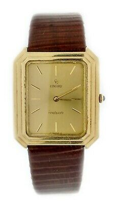 Vintage Concord Nine Quartz 27mm Solid 14k Yellow Gold Watch With Mono
