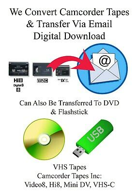 VHS-C Camcorder Tapes To DVD Transfer Service To Email - Digital Download