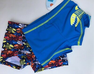 Baby Boys 2 pack Swim Trunks. 1 x Blue with Fish + 1 x Blue with Shark
